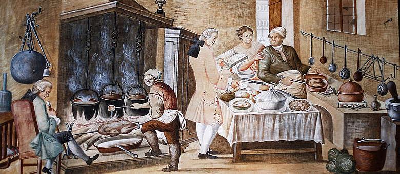 Historisches Decken-Gemälde in einer Villa in der Franciacorta-Region, das Essensszenen abbildet.