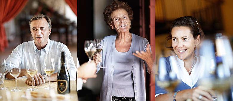 Winzer in der Franciacorta: Paolo von Villa Franciacorta, Madame Berlucchi von Fratelli Berlucchi, Lucia vom Weingut IL Mosnel, Lombardei, Italien