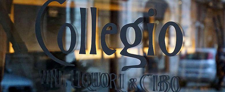 Italien-Wein-Rom-Eingangstür des Restaurants Collegio von Antonio Sartarelli und Casale del giglio
