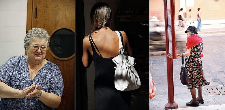 Momentaufnahmen aus der Emilia Romagna - Frau an der Bushaltestelle, Rückenansicht einer jungen Frau beim Shoppen und links: Köchin von Anselmo Chiarli rollt Markklößchen per Hand für die Suppe ihrer Gäste