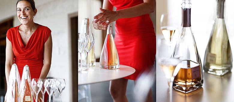 Laura Gatti im roten Dress, Winzerin in der Franciacorta des Weingutes Ferghettina und ihre quadratischen Flaschen, Italia ist auch das Land des neuen Designs
