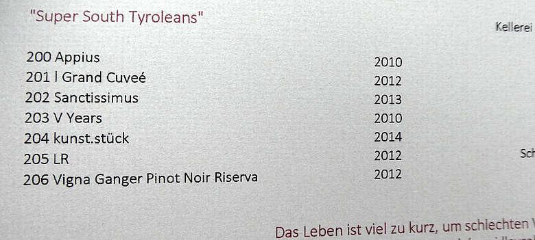 Italien-Suedtirol-Weinkarte mit weißen Spitzenweinen