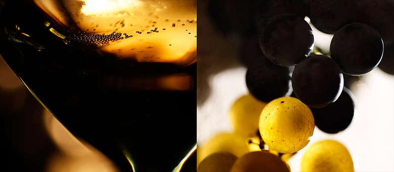 Aus Chardonnay und Pinot Noir Trauben wird der Franciacorta erzeugt, hier künstlerisch in Szene gesetzt von Markus Bassler,  Italien, Lomardei, Franciacorta