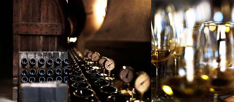 Momentaufnahmen der traditionelle Sekterzeugung in der Franciacorta in Norditalien am Iseosee. Rüttelpulte, Druckmanometer und Probiergläser im Labor für die Assemblage des Grundweines, Italien, Weingut Villa Franciacorta