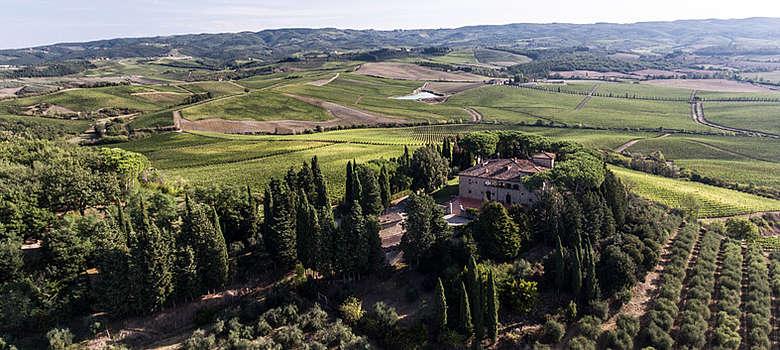 Italien-Wein-Toskana-Chianti-Luftaufnahme der Villa Cerna in der Nähe von Castellini in Chianti, Weingut der Familie Cecchi