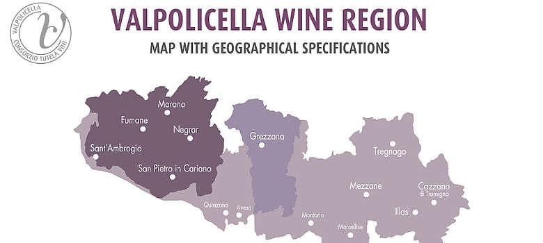 Detaillierte Valpolicella Weinkarte mit Weinorten und Anbauzonen