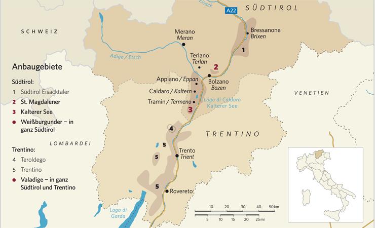Südtirol, Wein, Italien, Landkarte mit den Regionen der Weine aus Südtirol, Wein, Weißburgunder, Vernatsch, Lagrein, St. Magdalener, Kalterer See, Rotwein, Weißwein, Bozen,  Eppan, Merano, Brixen